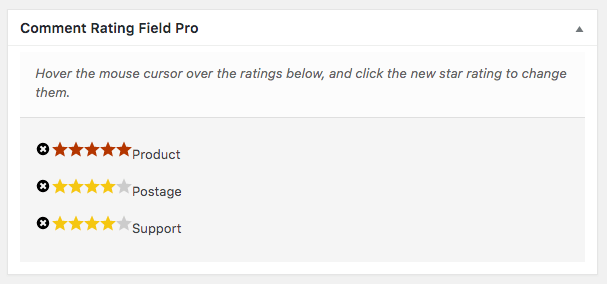 Comment Rating Field Pro Plugin: Edit Ratings: Edit