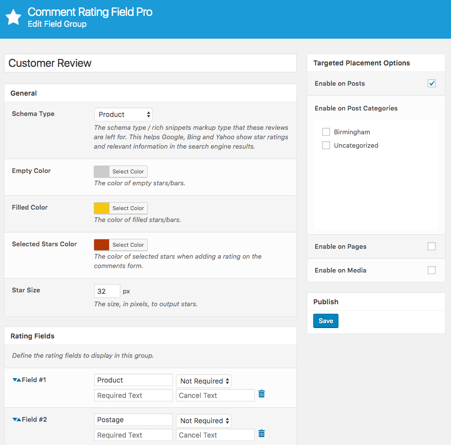 Comment Rating Field Pro Plugin: Form