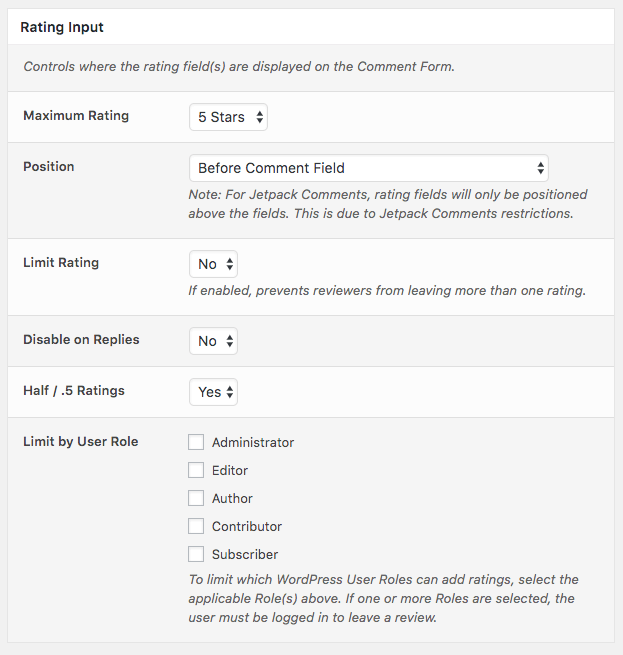 Comment Rating Field Pro Plugin: Rating Input