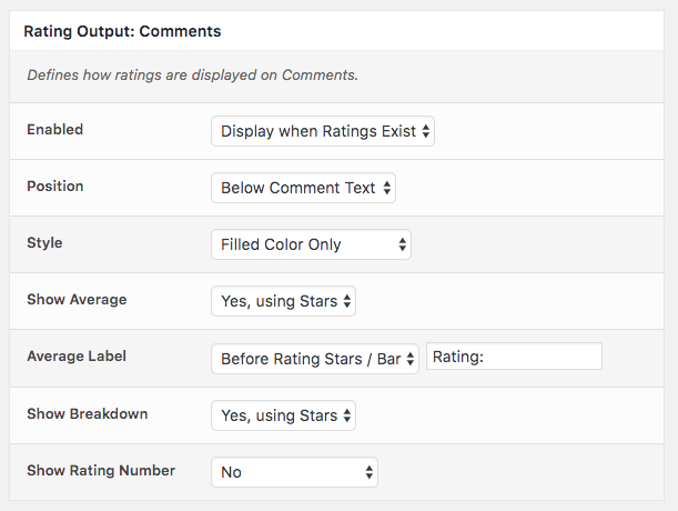 Comment Rating Field Pro Plugin: Rating Output Comments