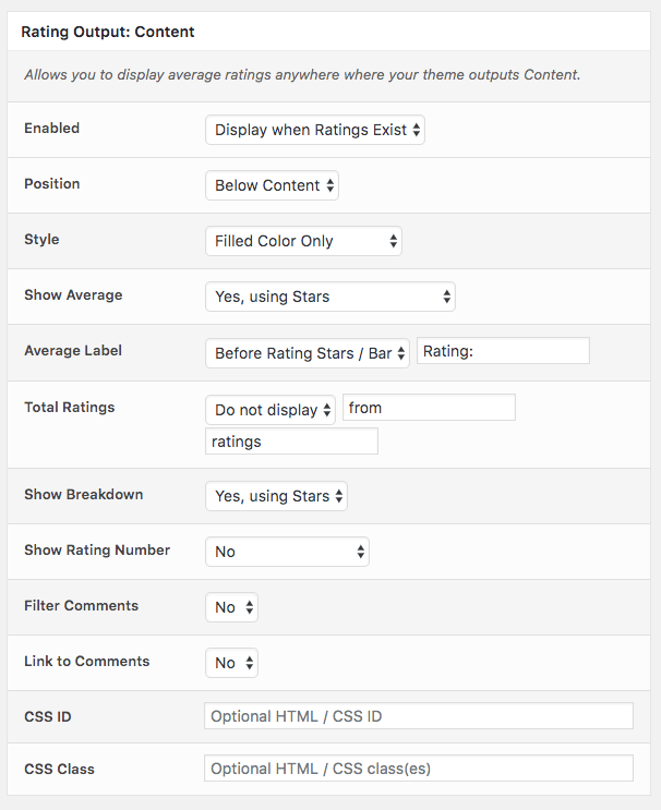 Comment Rating Field Pro Plugin: Rating Output Content