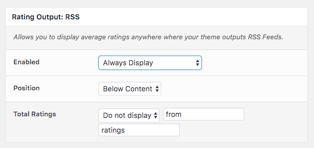 Comment Rating Field Pro Plugin: Rating Output RSS