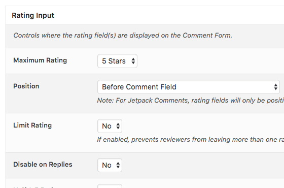 Comment Rating Field Pro: Rating Fields Placement
