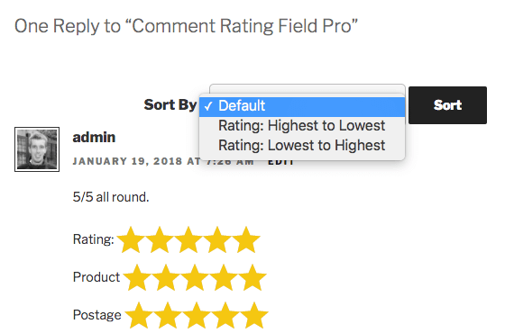 Comment Rating Field Pro: Sort Comments by Rating