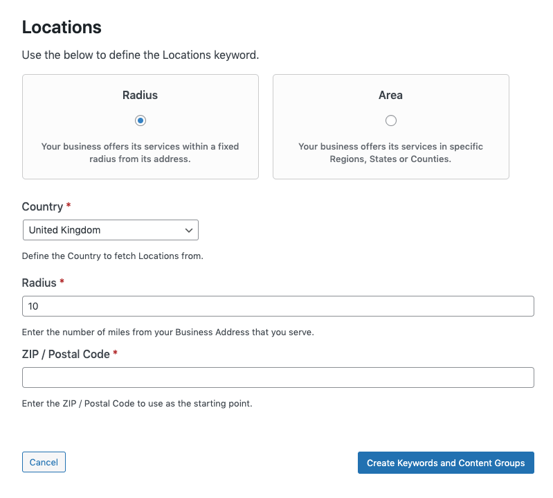 Page Generator Pro: Content Groups: Add Directory Structure: Locations