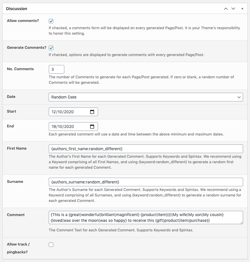 Page Generator Pro: Generate: Content: Discussion: Generate Comments