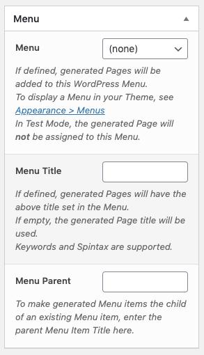 Page Generator Pro: Generate: Content: Fields: Menu