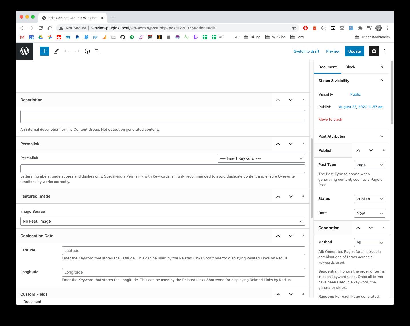 Page Generator Pro: Generate: Content: Gutenberg: Fields: Main