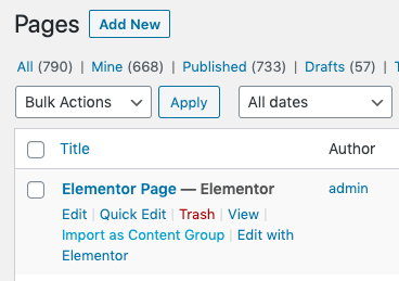 Page Generator Pro: Generate: Content: Import Page to Content Group