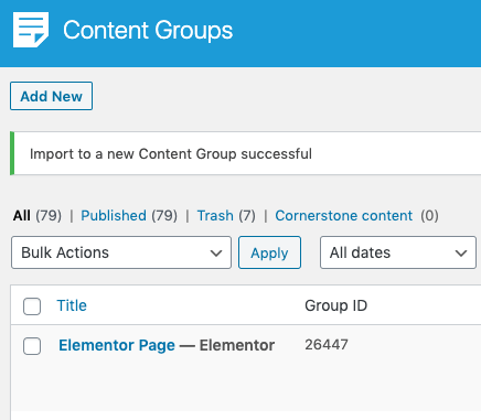 Page Generator Pro: Generate: Content: Imported Page to Content Group