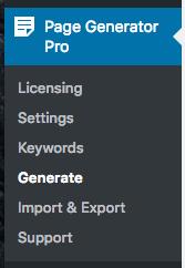 Page Generator Pro: Generate: Menu