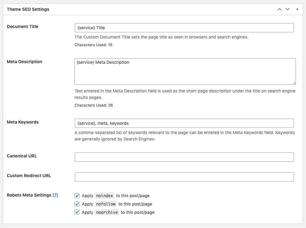 Page Generator Pro: Generate: SEO Integration: Genesis Framework: Theme SEO Settings