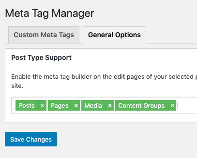 Page Generator Pro: Generate: SEO integration: Meta Tag Manager: Settings: Post Type Support