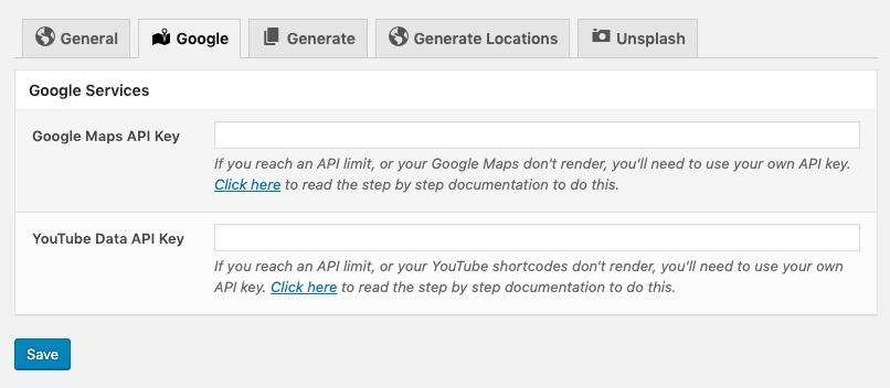 Page Generator Pro: Google Settings