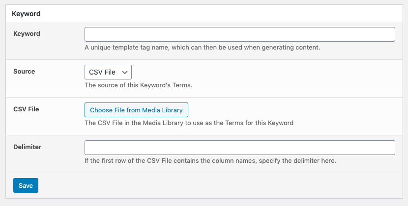 Page Generator Pro: Keywords: Source: CSV File