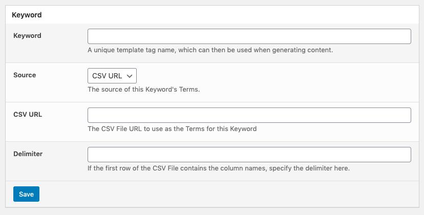 Page Generator Pro: Keywords: Source: CSV URL