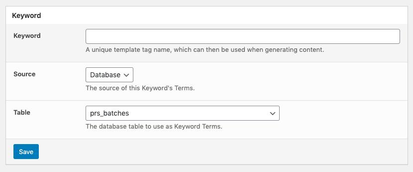 Page Generator Pro: Keywords: Source: Database