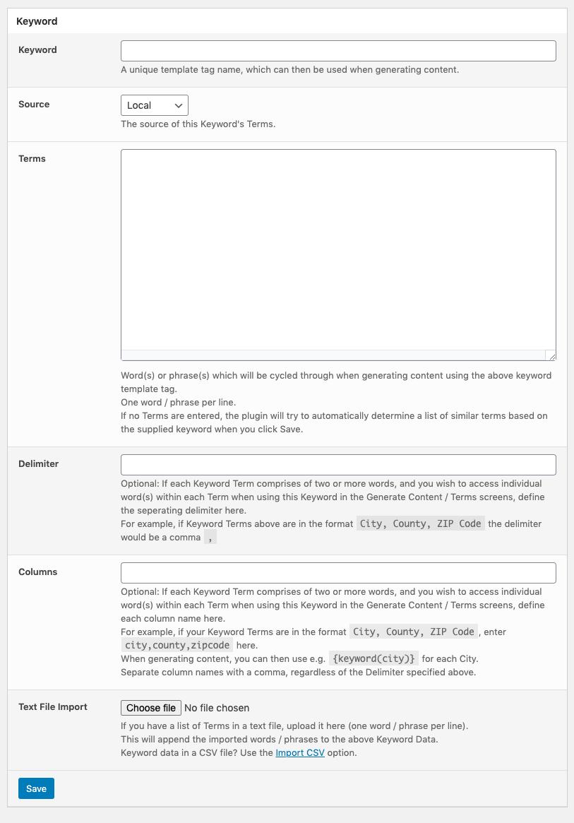 Page Generator Pro: Keywords: Source: Local