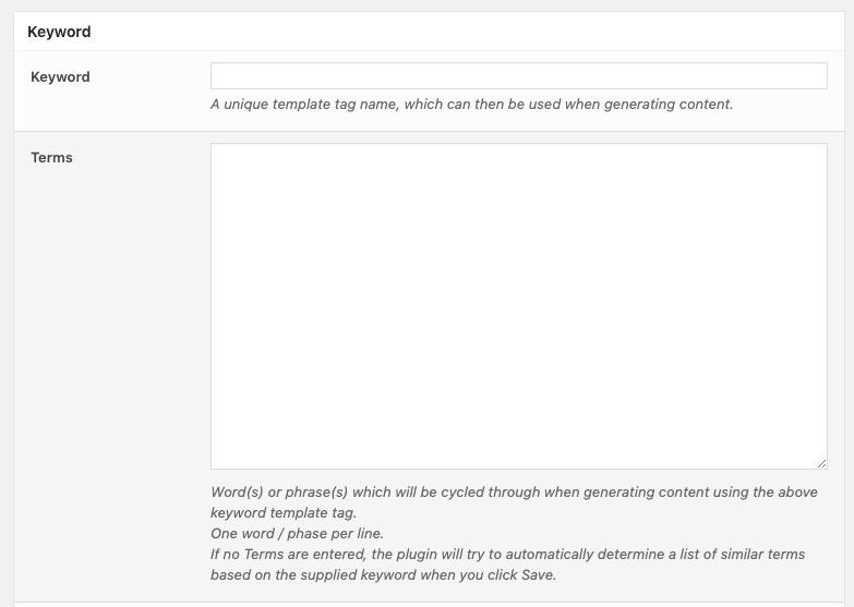 Page Generator Pro: Keyword Form