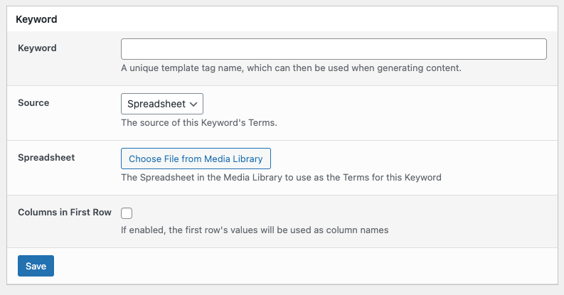 Page Generator Pro: Keywords: Spreadsheet Source