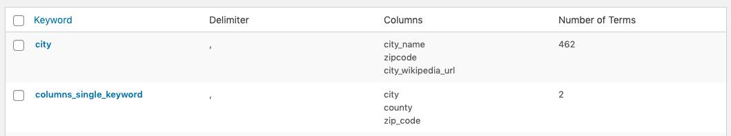 Page Generator Pro: Keywords: Table Columns