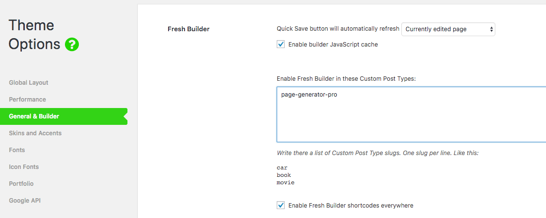 Page Generator Pro: Page Builders: Ark / Fresh Builder: Theme Options