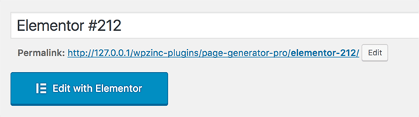 Page Generator Pro: Page Builders: Elementor Button
