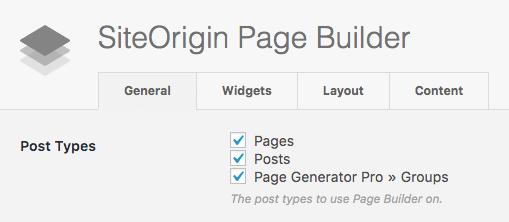 Page Generator Pro: Page Builders: SiteOrigin