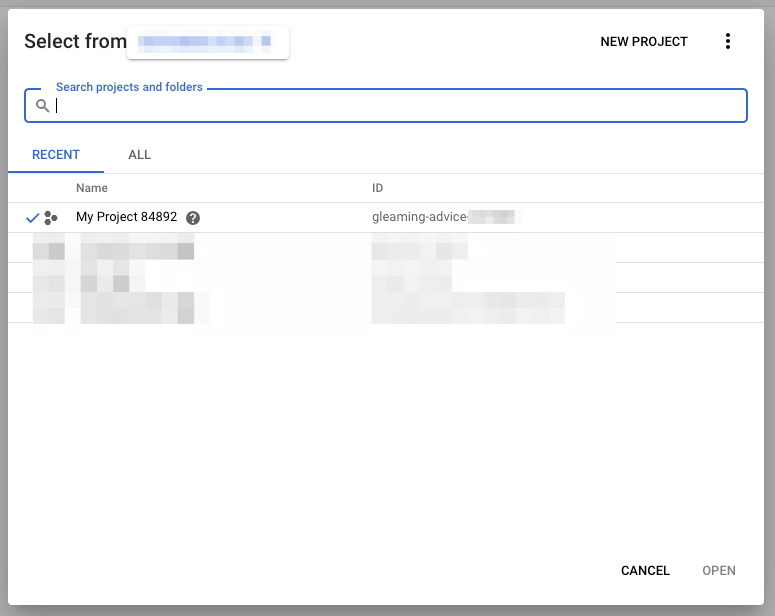Page Generator Pro: Settings: Google: Select Project Modal