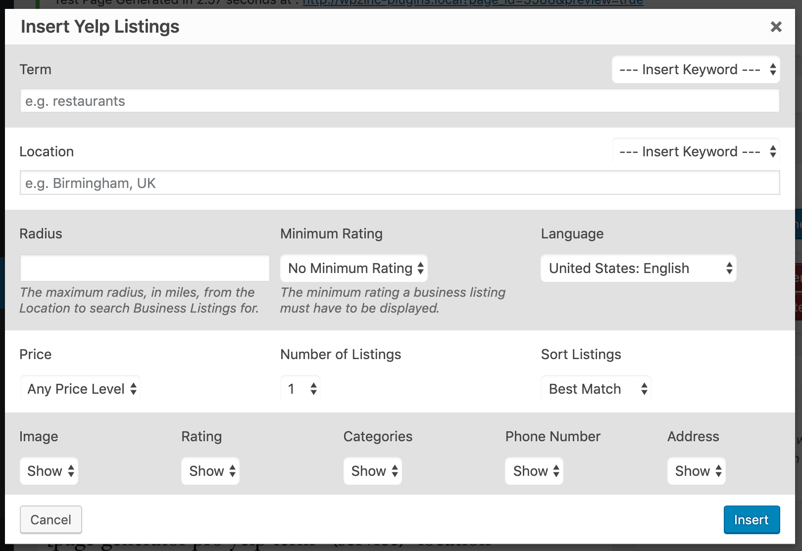 Page Generator Pro: Generate: Shortcodes: Yelp