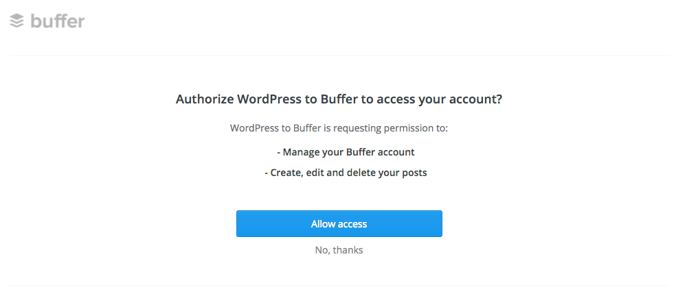 WordPress to Buffer Pro: Authentication: Remote