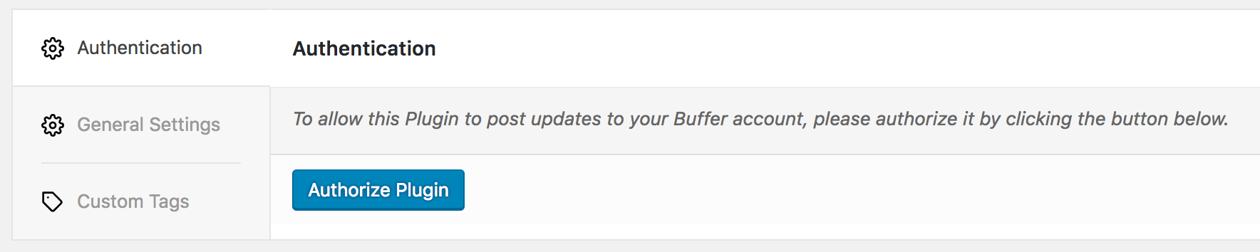 WordPress to Buffer Pro: Authentication Settings: Authorize