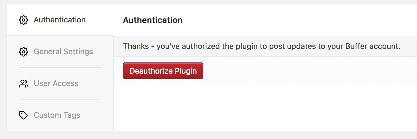 WordPress to Buffer Pro: Authentication Settings: Authorized