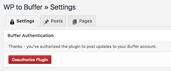 WordPress to Buffer Pro: Authentication: Confirmation