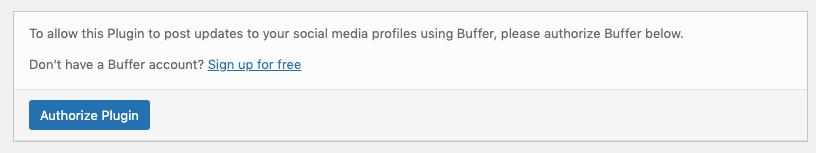 WordPress to Buffer Pro: Authorize Plugin