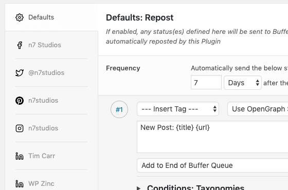 WordPress to Buffer Pro: Automatically Send Statuses on Repost