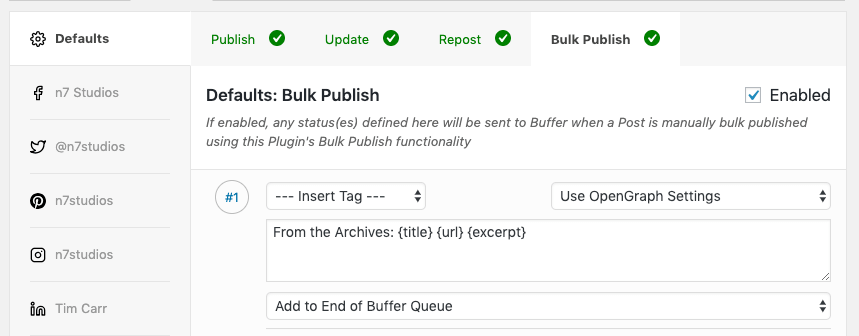WordPress to Buffer Pro: Bulk Publish