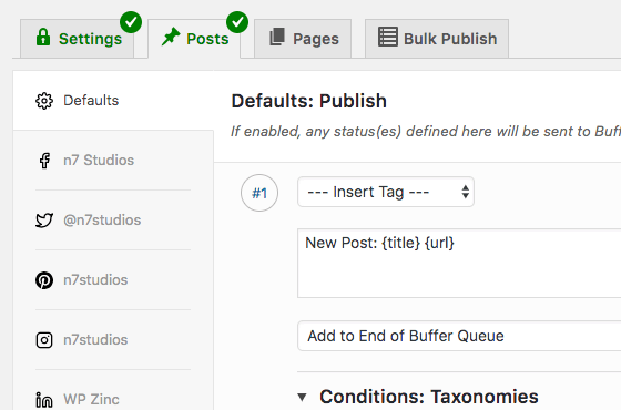WordPress to Buffer Pro: Settings
