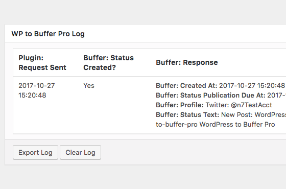 WordPress to Buffer Pro: Logging