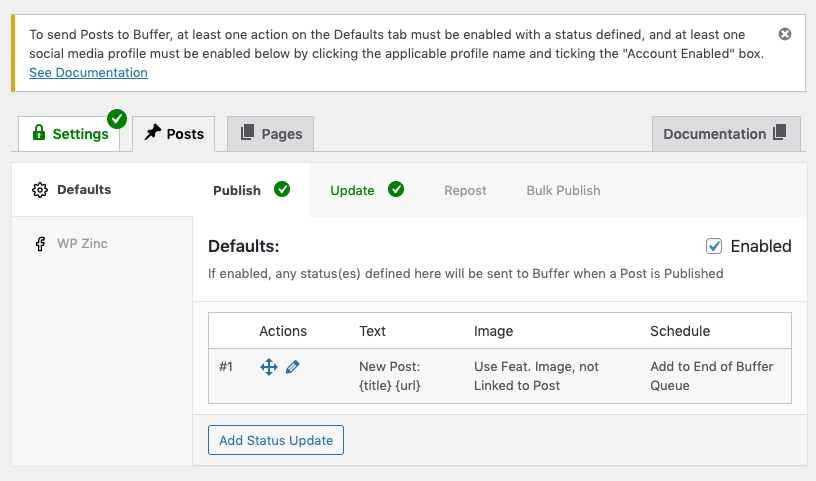 WordPress to Buffer Pro: Profiles connected, but not enabled