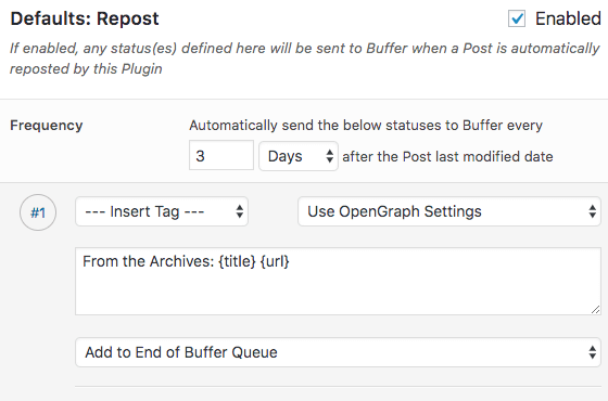 WordPress to Buffer Pro: Automatically Repost Old Posts