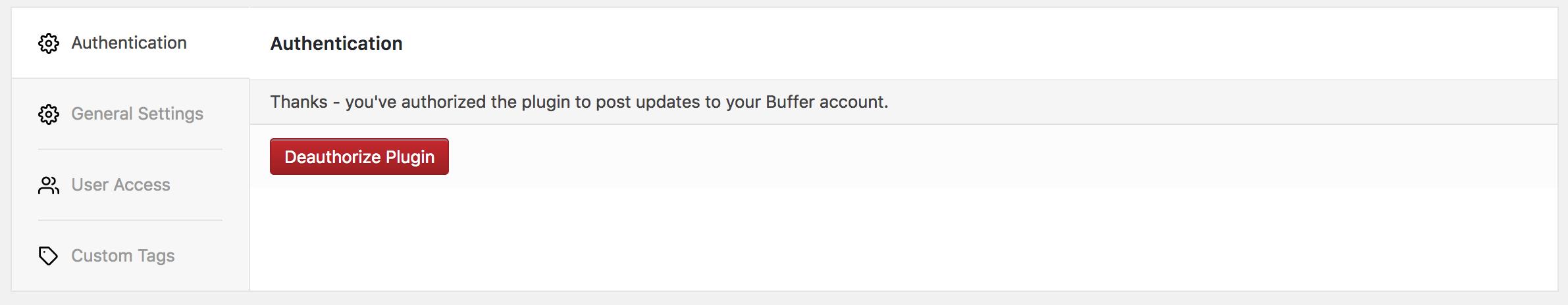WordPress to Buffer Pro: Settings: Authentication Screen