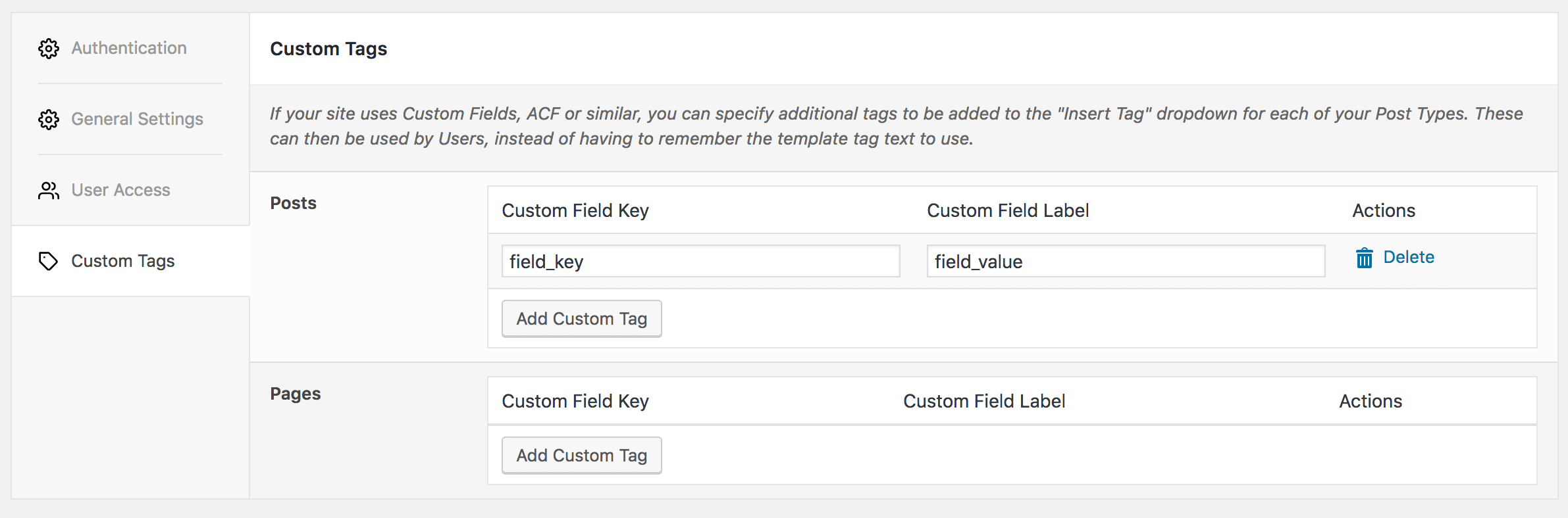 WordPress to Hootsuite Pro: Settings: Custom Tags