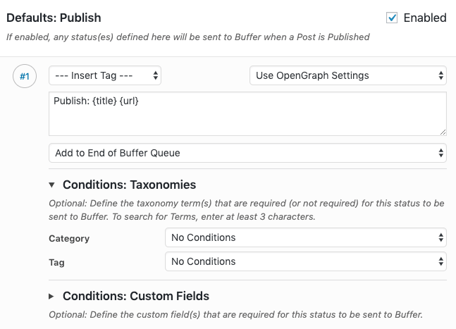 WordPress to Buffer Pro: Status Settings: Enabled Status