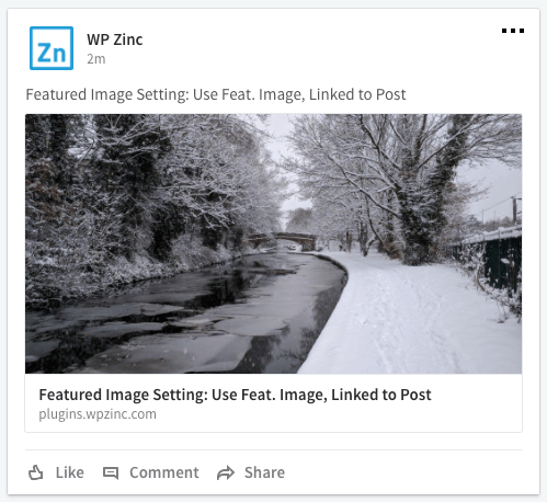 WordPress to Buffer Pro: Featured Image, Linked to Post: LinkedIn