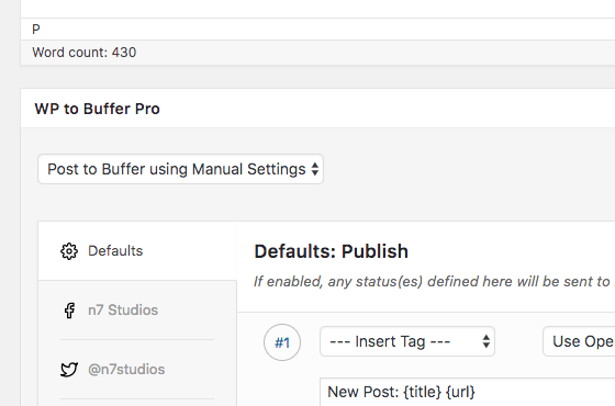 WordPress to Buffer Pro: Per Post Settings