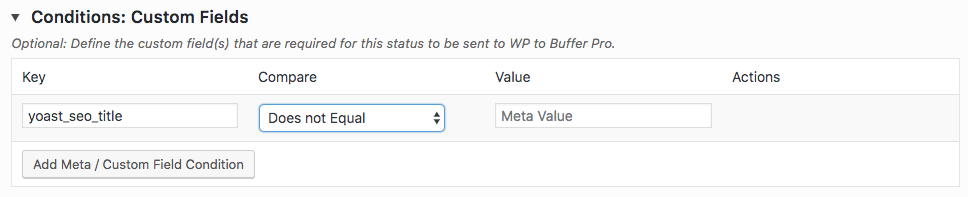 WordPress to Buffer Pro: Status: Conditions: Custom Fields Table: Yoast Example