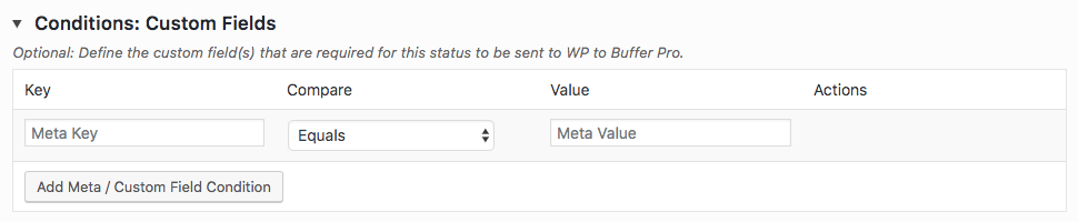 WordPress to Buffer Pro: Status: Conditions: Custom Fields Table