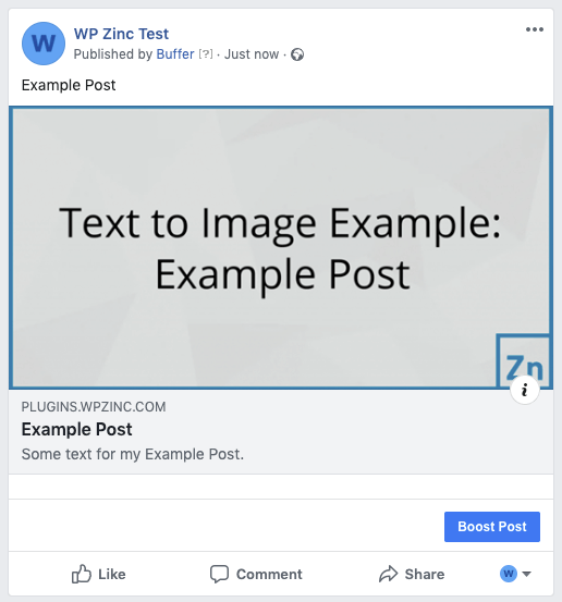 WordPress to Buffer Pro: Status Image: Text to Image, Linked to Post: Facebook