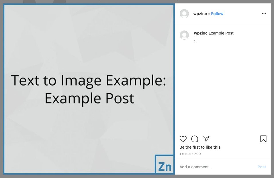WordPress to SocialPilot Pro: Status Image: Text to Image, Not Linked to Post: Instagram